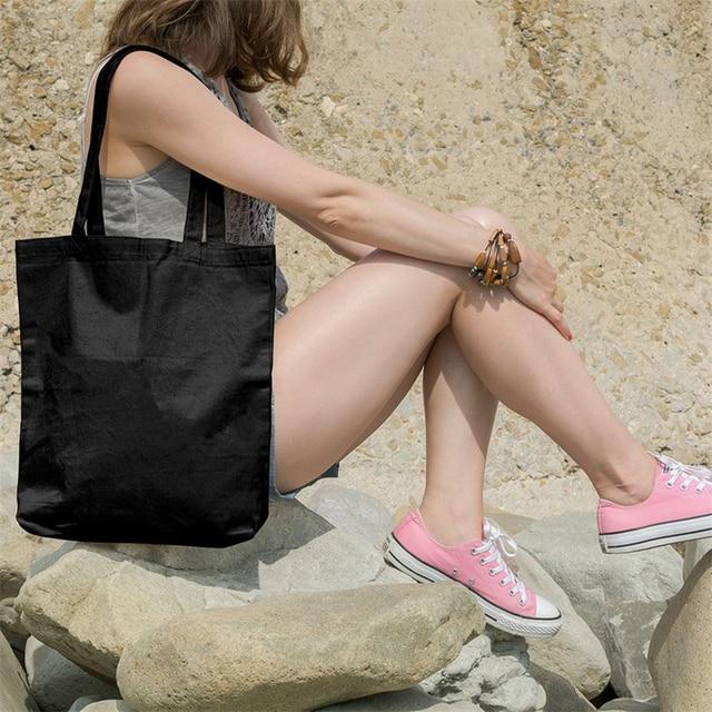 New Eco Cotton Tote Reusable Women Storage shoulder Shopping Bag Beach Handbags Grocery fruit bags CT001 2