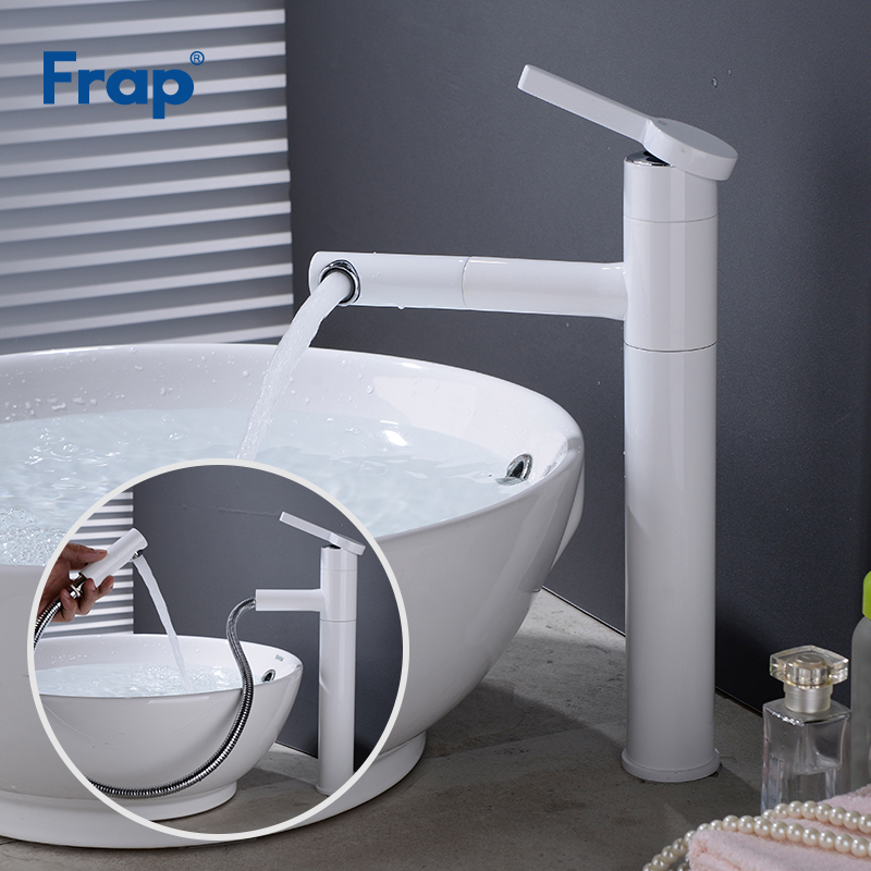 Frap Brass Wash Mixer Tap Basin Faucets Hot Cold Water Bathroom Sink Taps Pull Out Swivel Single Handle Sink Faucet Y10163