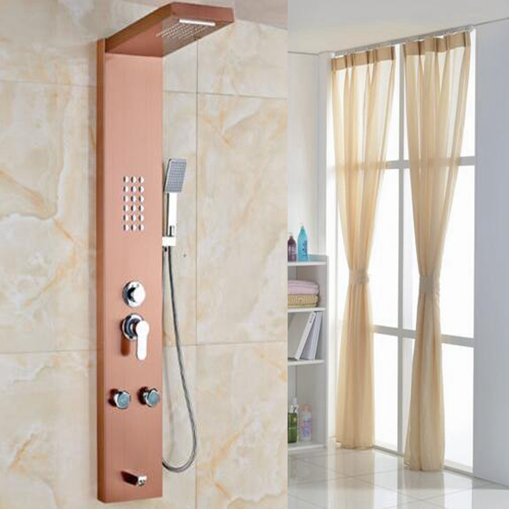 Online Shop Wall Mounted Shower Panel Rainfall Shower W/ Body Jets ...