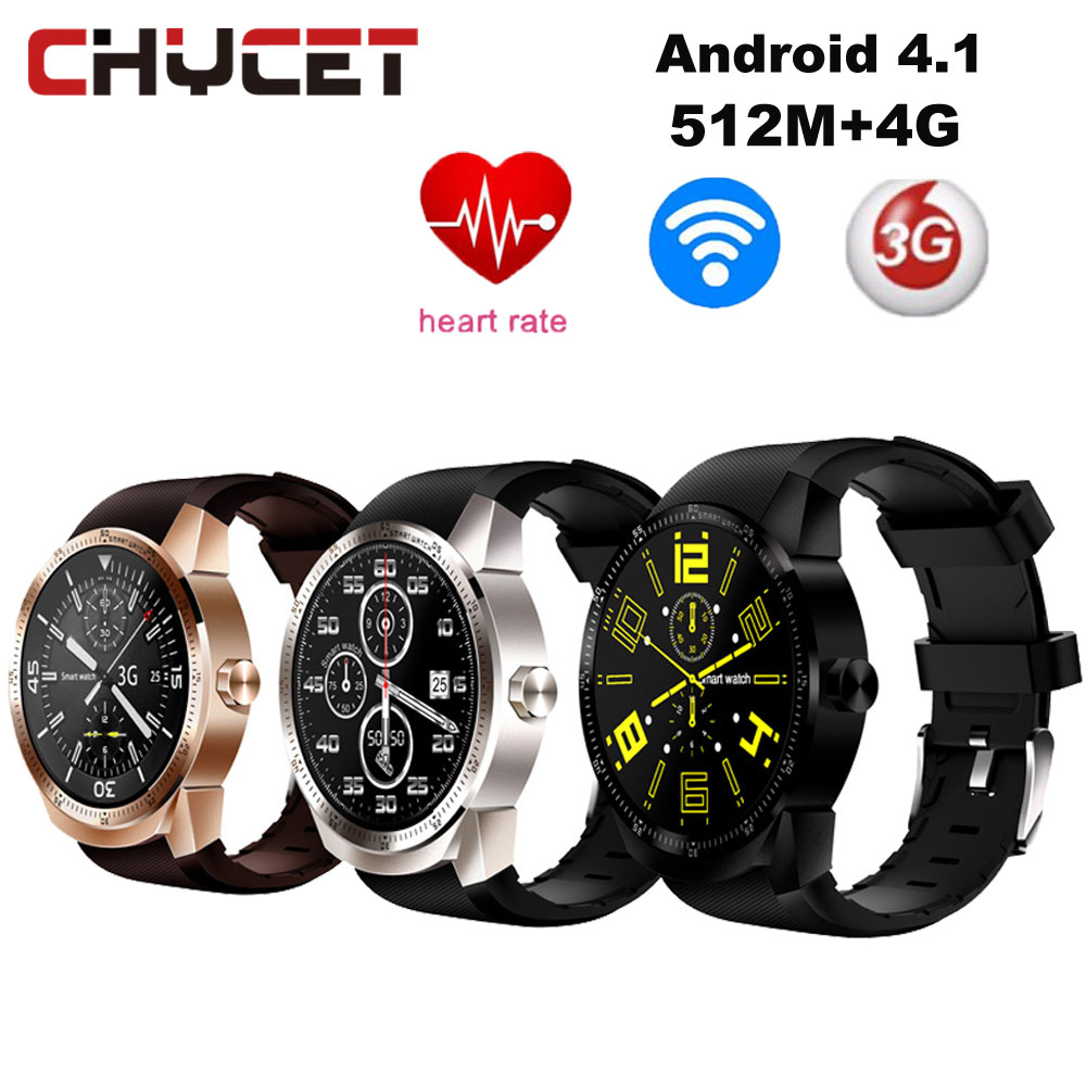 Chycet K98H 3G Smart Watch Phone Android 4.1 MTK6572A 512MB+4GB Bluetooth GPS Android Smartwatch with Heart Rate watch Pk KW88 smart baby watch q60s детские часы с gps голубые