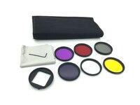52mm Filtros les Set Gopro Polarizador Circular de Color Rojo Amarillo Púrpura lente + filtro + filtro uv + cpl nd para go pro hero 4/3 + gp277