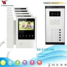 Yobang безопасности 4,3 «экран Мониторы телефон видео домофон видео запись системы для квартиры 5 Кнопка камера 5 мониторы