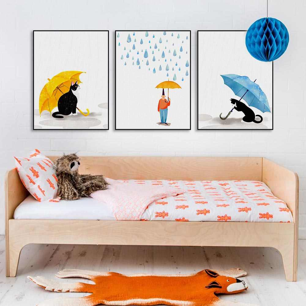 acd56ea10 Watercolor Cute Umbrella Black Cats Rain Poster Nordic Kids Baby Room Wall Art  Print Picture Home