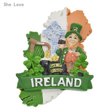 She Love Handmade Painted Ireland 3D Resin Fridge Magnet Refrigerator Tourism Souvenir Collectibles Gift(China)
