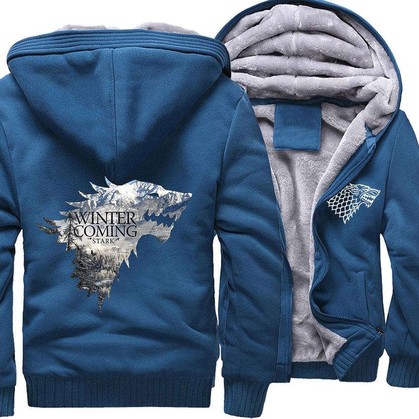 e1eaeb6da708 2018 Winter Thick Jackets Male Wine Red Men s Hoodies 3D Game Of Thrones  Anime Sweatshirts Harajuku Stark House Winter Is Coming-in Hoodies    Sweatshirts ...