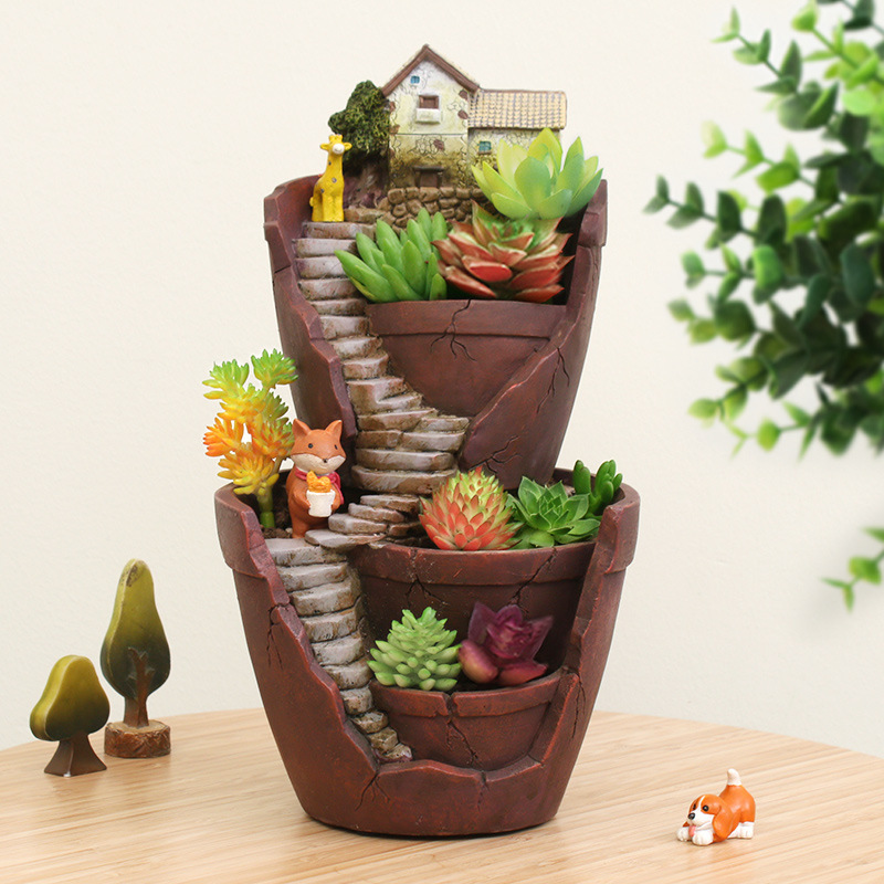 Keybox resin flower pot succulent hot sale plants pot Cactus pots for sale