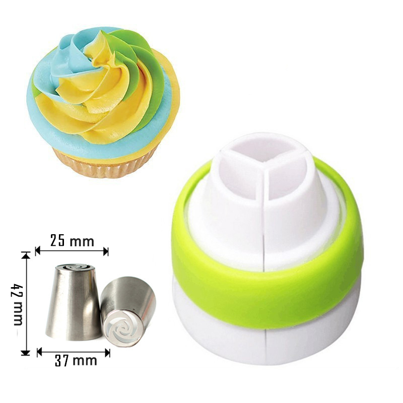 1Pc 3 Color Icing Piping Bag Russian Nozzle Converter