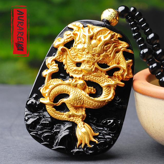 Chinese Dragon Obsidian Pendant