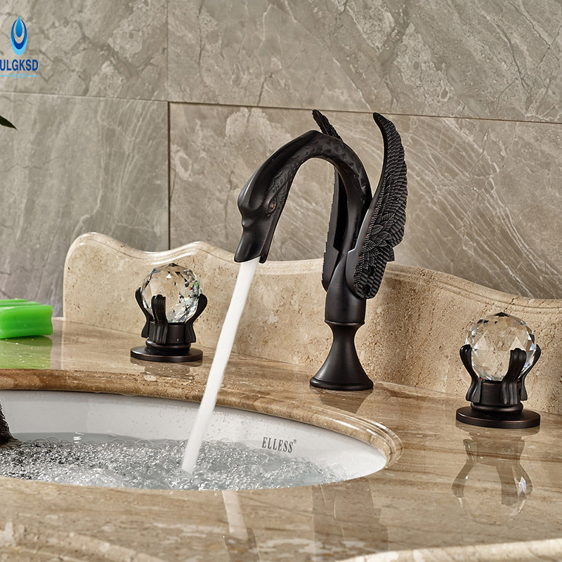 Ulgksd Black Brass Swan Basin Faucet Dual Handle Deck Mount Bathroom Sink Faucet Hot and Cold Mixer Water SavingTap ax shape waterfall basin faucet dual handle brass chrome bathroom mixes deck mount hot and cold tap
