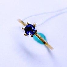 0,28 карат против сапфира, позолоченное кольцо из стерлингового серебра 925 пробы, кукурузно-голубой драгоценный камень, подарок на день Святого Валентина, студенческие обещания, крошечные