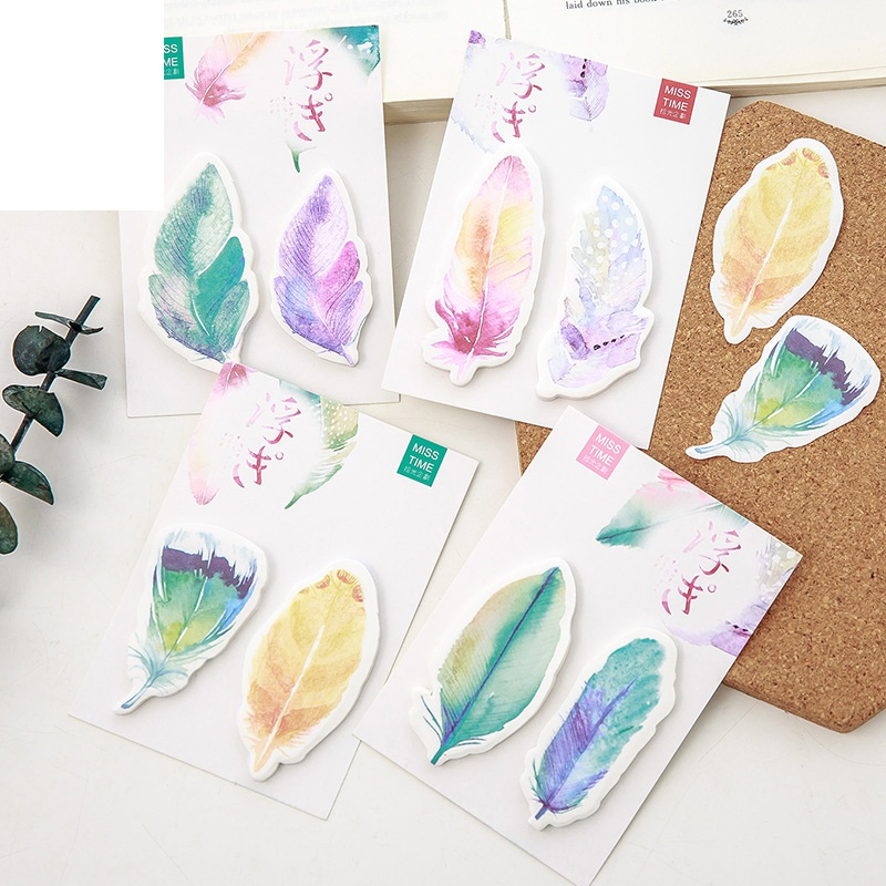 4 pcs/Lot Mini feather memo pad Post sticky notes Travel sticker Diary bookmark Stationery Office School supplies EM171