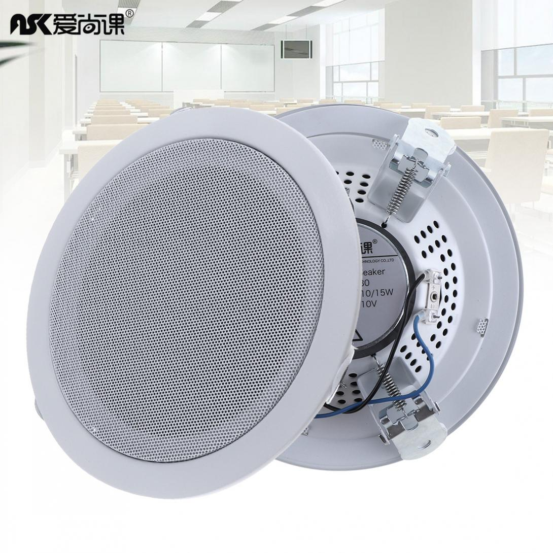 Durable 2pcs 6 Inch 15W Fashion Metal Microphone Input USB MP3 Player Ceiling Speaker for Home / Supermarket
