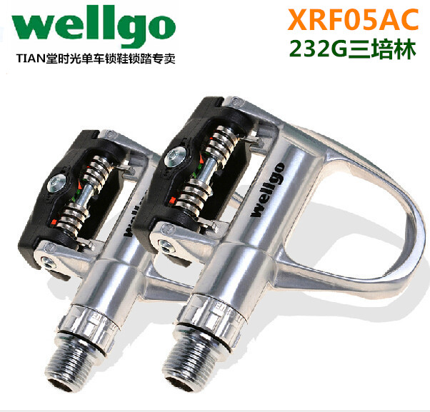 Wellgo Ultra Light Road Bike Pedals Auto Lock XRF05AC Aluminum Alloy 3 Bearing Silver wellgo aluminum mountain bike pedals double du bearing mtb bicycle pedals 112 9 111 3 21mm anodizing coloration cycling parts