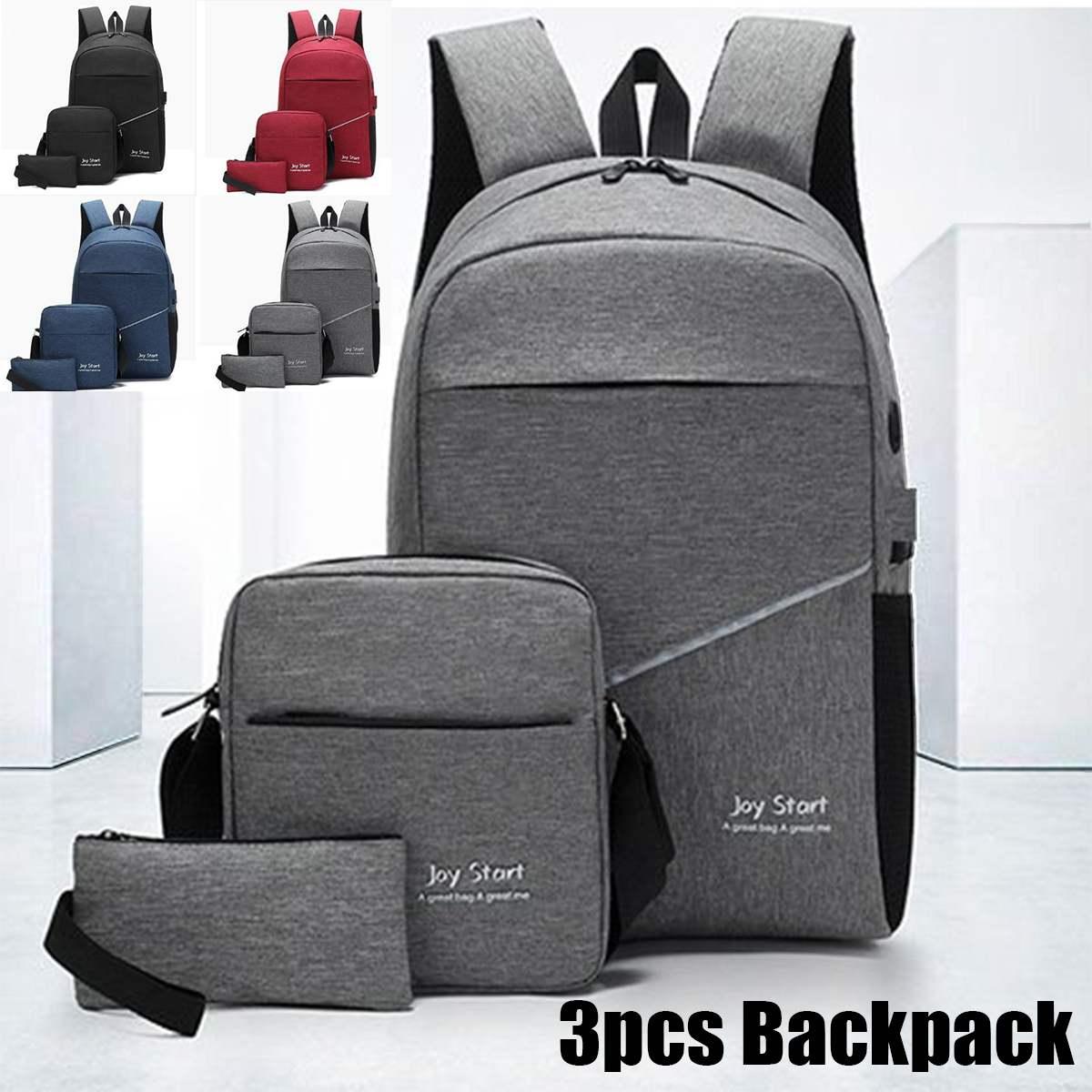3PCS Nylon Men Women Usb Charging Backpack With Headset Hole Boys Girl School Backpack Shoulder Bag Waterproof Laptop Travel Bag