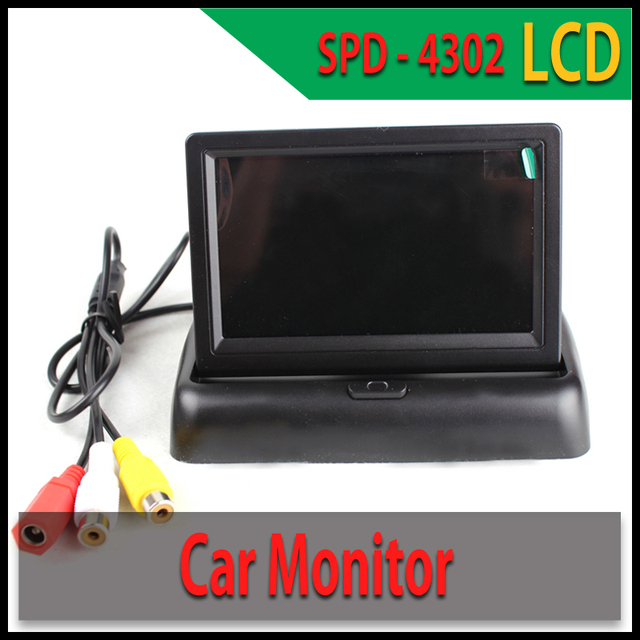 4.3 ''LCD Monitor Del Coche Plegable 2 de Entrada de Vídeo para Reproductores de Vídeo Sensor de Aparcamiento de Coche Universal Cámara de Visión Trasera Monitor