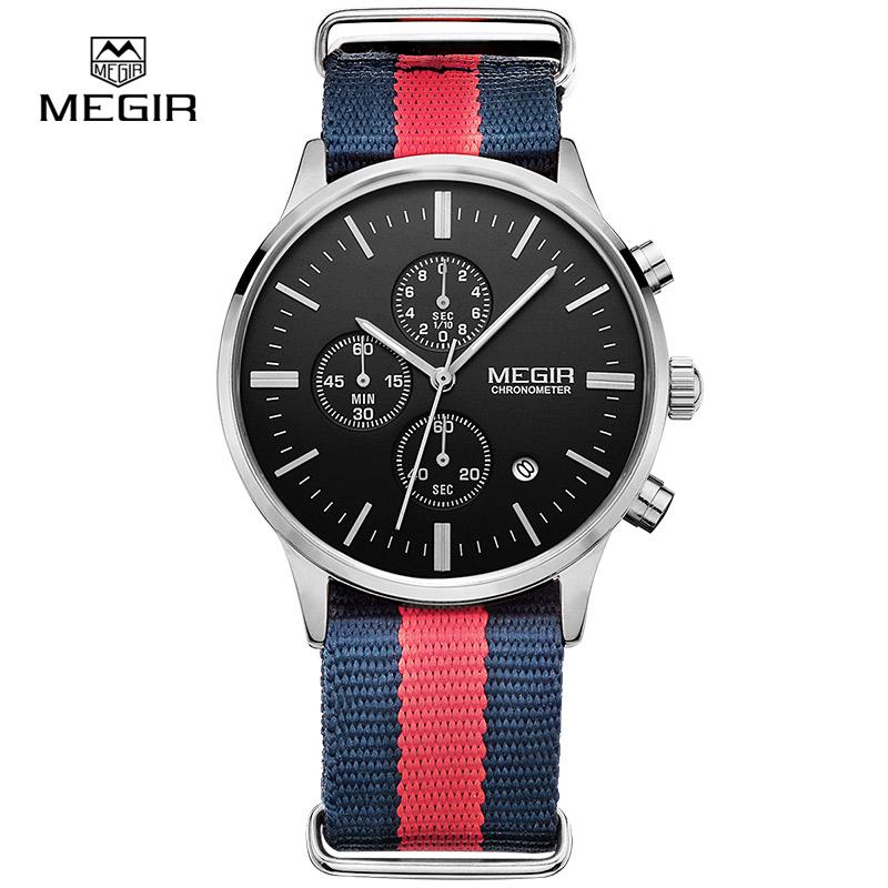 Prix pour MEGIR chronographe casual militaire résistant à l'eau quartz montre hommes lumineux toile bracelet montre-bracelet 2011 livraison gratuite
