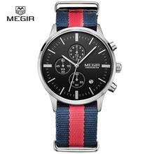 MEGIR montre bracelet à quartz, chronographe militaire résistant à leau, en toile lumineuse pour hommes, décontracté livraison gratuite, 2011