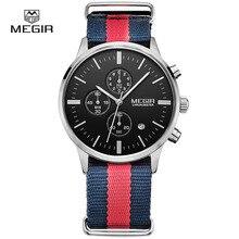 MEGIR rahat chronograph askeri su geçirmez quartz saat erkekler aydınlık tuval kayışı kol saati 2011 ücretsiz kargo