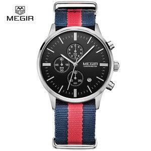 Image 1 - Мужские кварцевые часы с хронографом MEGIR, повседневные военные водонепроницаемые светящиеся наручные часы с холщовым ремешком, 2011
