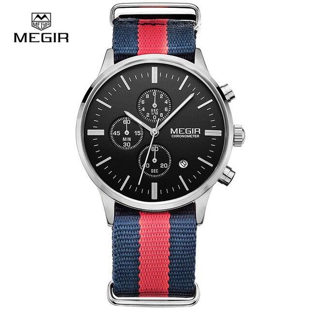 Мужские кварцевые часы с хронографом MEGIR, повседневные военные водонепроницаемые светящиеся наручные часы с холщовым ремешком, 2011