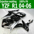 100% Injection molding fairing body kit for YAMAHA R1 2004 2005 2006 silver black  fairings set 04 05 06 YZF R1 AS17