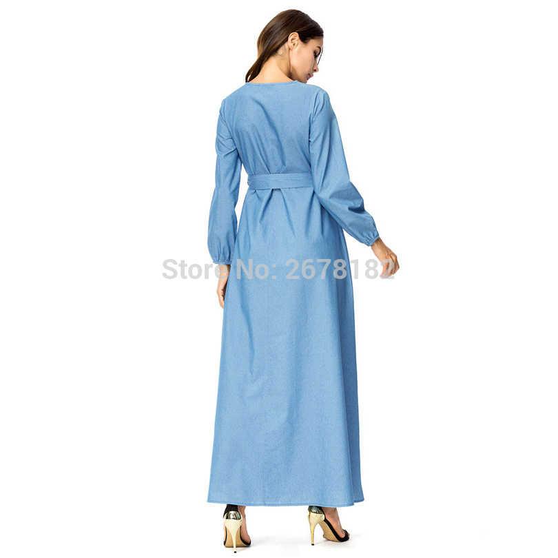 Цвет небесно-синий Длинные рукава Длинные платье из джинсовой ткани с поясом, лодыжки джинсы с вышивкой платья для Дубай Кафтан Анаркали Абаи мусульманский абайя