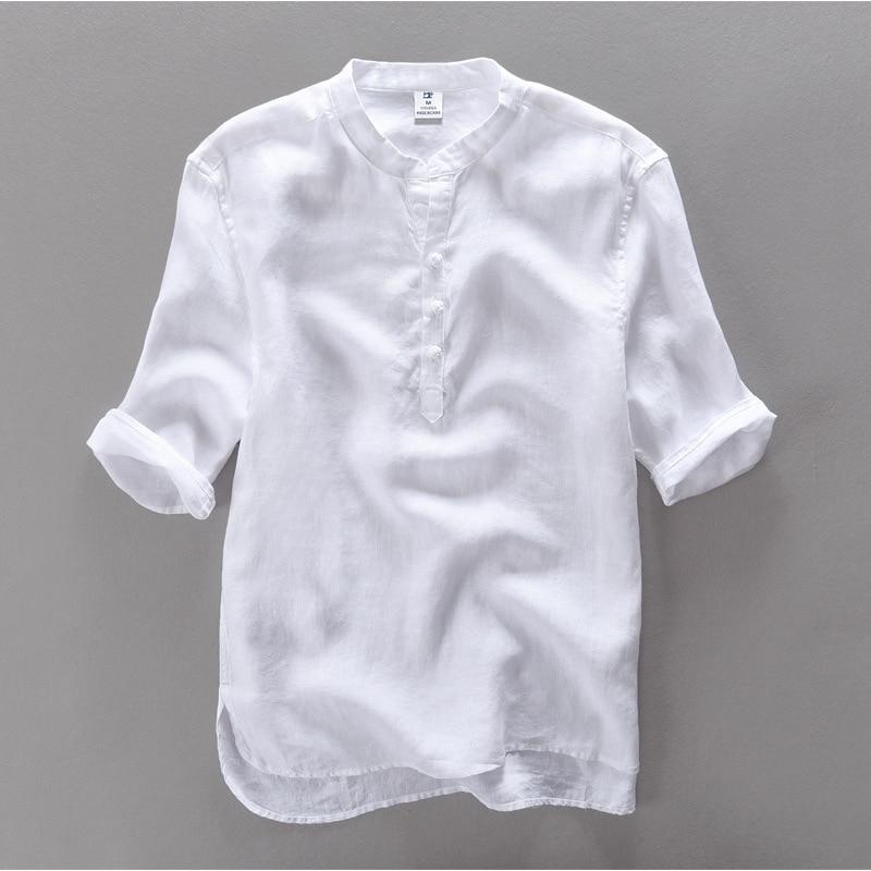 2017 새로운 패션 브랜드 남성 셔츠 짧은 소매 캐주얼 셔츠 남성 린넨 의류 망 셔츠 아마씨 camisa masculina chemise 3XL