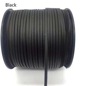3mm 5 Yards Black Macrame Braided Faux Suede Cord Leather Lace DIY Handmade Beading Bracelet Jewelry Making Flat String(China)