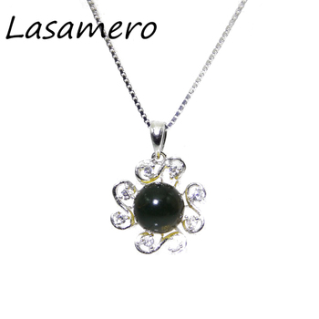 8.5mm Natural Stone Blue Amber 925 Sterling Silver Pendant Necklace