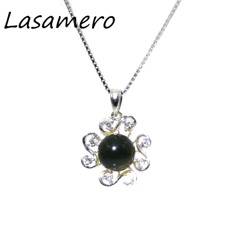 LASAMERO 8.5mm Natural Stone Blue Amber 925 Sterling Silver Art Deco Solitaire Pendant Necklace серьги art silver art silver ar004dwzmh30