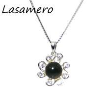 Check Discount LASAMERO 8.5mm Natural Stone Blue Amber 925 Sterling Silver Art Deco Solitaire Pendant Necklace