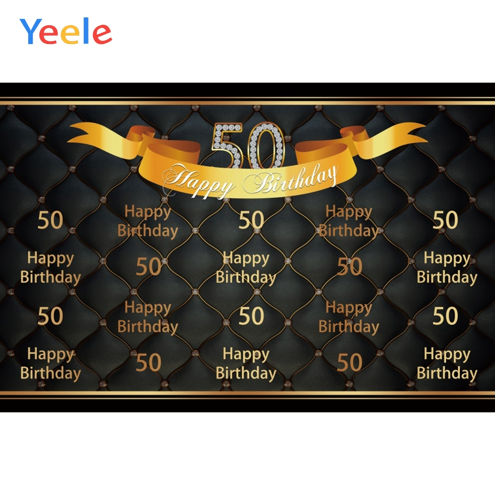 Yeele <font><b>50th</b></font> <font><b>Happy</b></font> <font><b>Birthday</b></font> Gold ribbon Simple Elegant Photography <font><b>Backdrop</b></font> Personalized Photographic Backgrounds For Photo Studio image