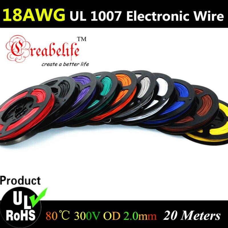 20 Mètres/roll 18 AWG-Souple Brin 10 Couleurs UL 1007 Diamètre 2.0mm Électronique Fil Conducteur 350 yees