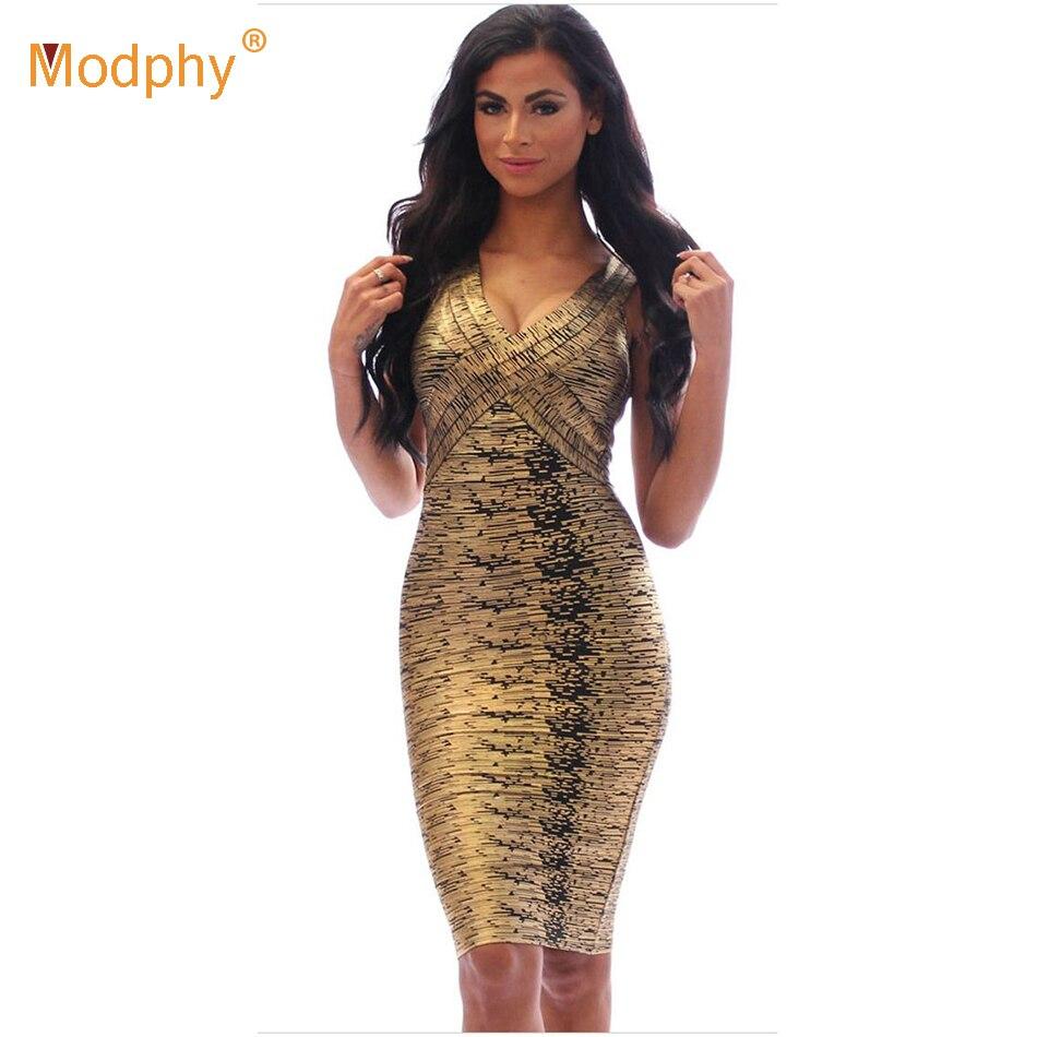 Sexy laisser mijoter femmes 2019 feuille v cou genou longueur or vert rouge robe de célébrité moulante bandage parti robe drop shipping HL8628