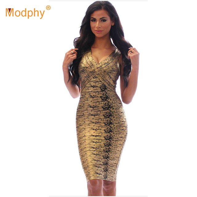 84e63c7612307 US $33.6 20% OFF|Sexy simmer women 2019 foil v neck knee length gold green  red dress celebrity bodycon bandage party dress drop shipping HL8628-in ...