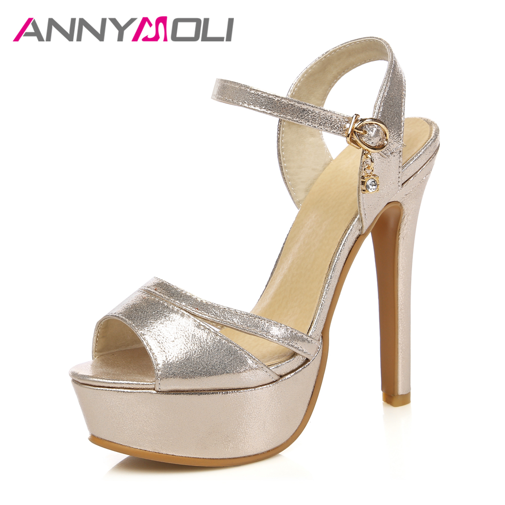ANNYMOLI Women Wedding Shoes Platform Extreme High Heels Open Toe High Heel Ladies Sandals Plus Size 33-46 Summer Gold Shoes summer women leather high heeled shoes sandals rhinestone pump sandals ladies open toe slippers plus size 33 41
