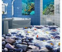 Foto sfondo personalizzato 3d pavimentazione Impermeabile auto-adesione murales Pebble Creek Pesce Bagno Pavimento 3D pittura wallpaper decor