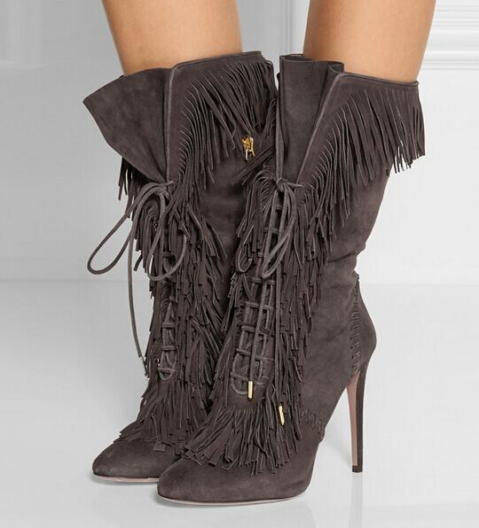 Womens Boots Ankle Grey Color Lace up Fringed Mid-calf Boots Pointed Toe Zipper High Heels Tassels Boot Women Autumn Winter Boot mid calf pointed toe cowboy boot stiletto thin heels womens riding boots beading buckle adhesive euro pure color faux fur