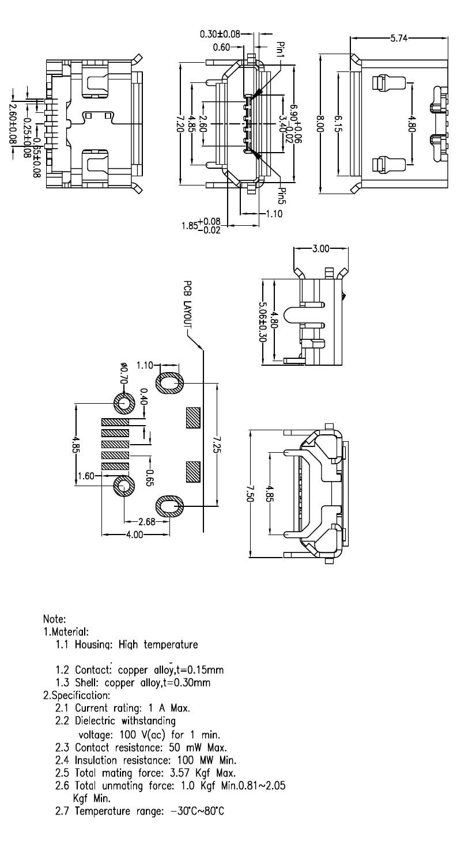 20pcs micro usb 5pin long pin jack female socket g32 connector ox 100 g32 wiring diagram  [ 800 x 1500 Pixel ]