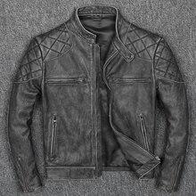 شحن مجاني. نمط جديد ملابس رجالي دافئة ، خمر موتور السائق سترات من الجلد ، رجل كول جلد طبيعي أسود سترة. homme سليم