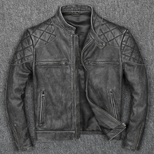 Free shipping.New style warm mens clothes,vintage motor biker leather Jackets,man cool black genuine Leather jacket.homme slim