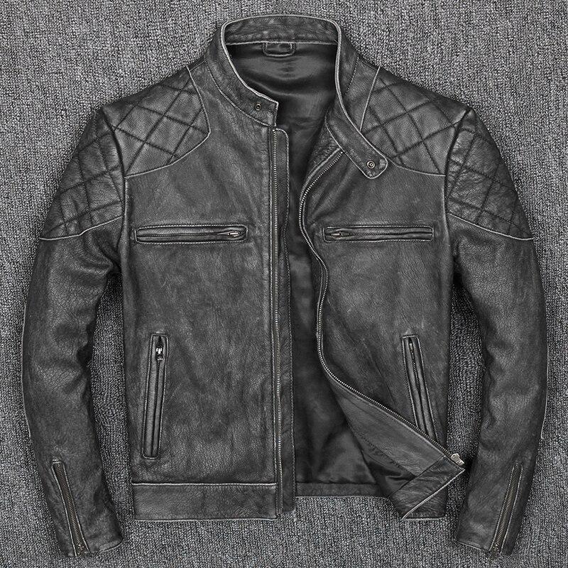 Livraison gratuite. nouveau style chaud hommes vêtements, vintage moteur biker vestes en cuir, homme cool noir véritable veste en cuir. homme slim