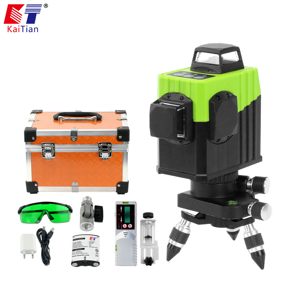 KaiTian Green/Self-Leveling/Line/ Rotary/Laser Level 532nm Horizontal Vertical Cross Laser 8 Line 360 Green Receiver Level Tool