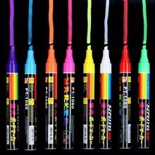 8 kolorów 6mm kasowalna ukośny zakreślacz zestaw kreda w płynie fluorescencyjny Neon LED szyba okienna farby długopisy Marker do tablicy