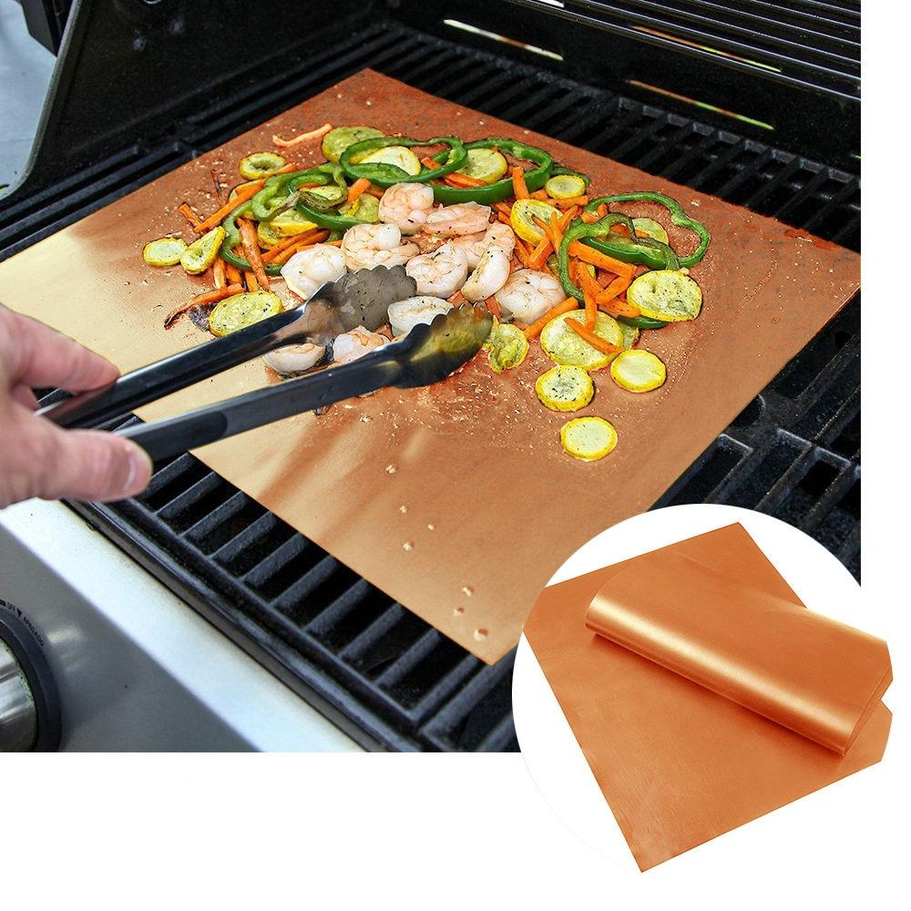 2Pcs Copper Grill Mat BBQ Pad Non Stick Barbecue Mat Cooking Chef Bake Reusable