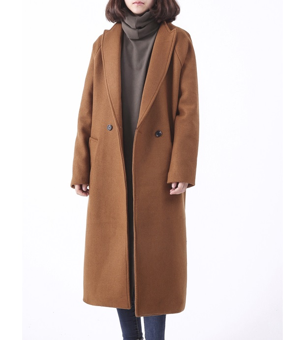 Women Long Wool Coat With Quilting Oversize Trench Peacoats Winter ...
