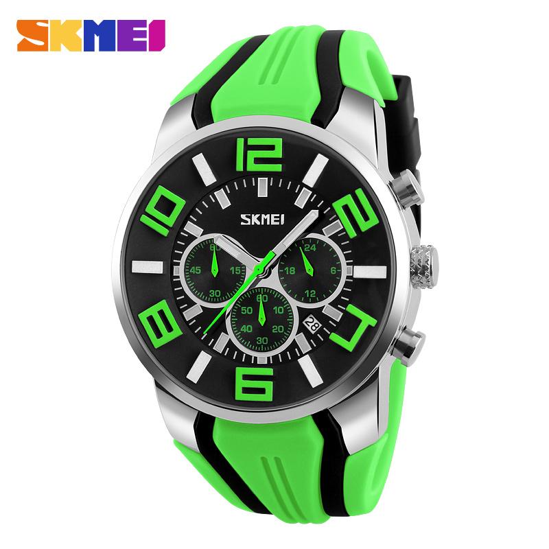 Prix pour SKMEI 9128 Hommes Quartz Montres Mode Sport Chronomètre Auto Date 30 M Étanche Horloges Relogio Masculino Homme Marque Montres