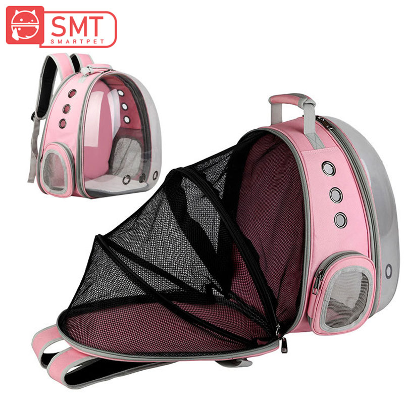 SMARTPET Transparent Pet Space Capsule Breathable Puppy Backpack Carrier Cat Dog Outdoor Traveling Bag Extensible Backbag
