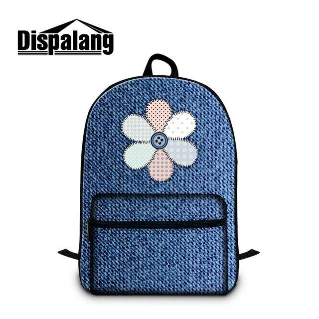 Dispalang fashion denim floral women laptop backpack jean design school  book bags for teenage girls cool 169012c7af890