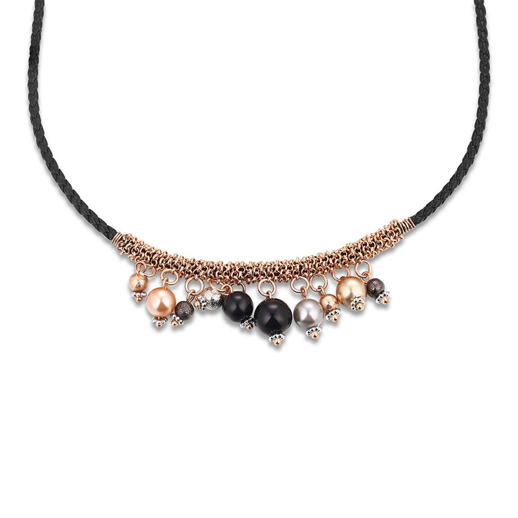Fashion Rose Gold Plating Copper Chain Long Black Chain Lots Colorful Beads Elegant Charming Decoration Necklace 1Piece